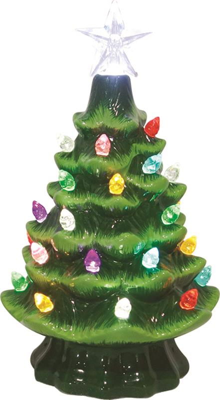 "7.5"" Ceramic Light Up Christmas Tree,67416-C"