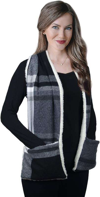 Heated Sherpa-Lined Scarf with Pockets,70790-F