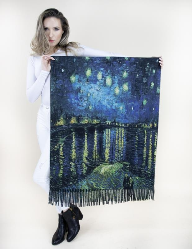 Art Scarf Starry Night Over the Rhone,FS40515-BKBL